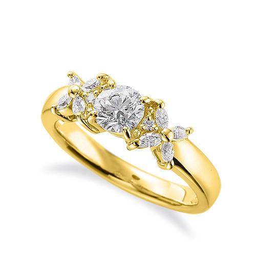 指輪 18金 イエローゴールド 天然石 マーキスメレが花モチーフのサイドストーンリング 主石の直径約3.8mm 四本爪留め K18YG 18k 貴金属 ジュエリー レディース メンズ