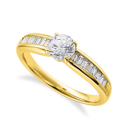指輪 18金 イエローゴールド 天然石 バゲットメレのサイド一文字リング 主石の直径約5.2mm 四本爪留め|K18YG 18k 貴金属 ジュエリー レディース メンズ