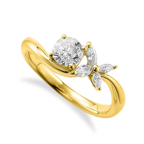 指輪 18金 イエローゴールド 天然石 マーキスメレが花モチーフのサイドストーンリング 主石の直径約5.2mm V字 四本爪留め|K18YG 18k 貴金属 ジュエリー レディース メンズ