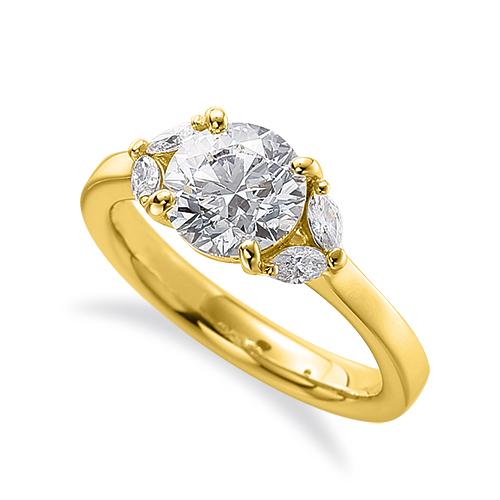 指輪 18金 イエローゴールド 天然石 マーキスメレのサイドストーンリング 主石の直径約5.2mm 四本爪留め|K18YG 18k 貴金属 ジュエリー レディース メンズ