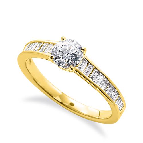 指輪 18金 イエローゴールド 天然石 バゲットメレのサイド一文字リング 主石の直径約5.2mm 四本爪留め K18YG 18k 貴金属 ジュエリー レディース メンズ