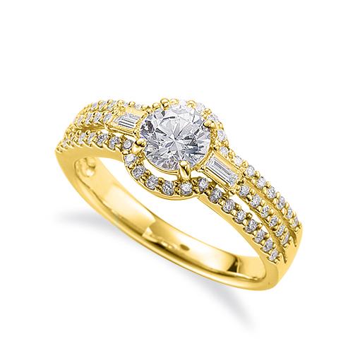 指輪 18金 イエローゴールド 天然石 バゲットメレがポイントの取り巻きリング 主石の直径約5.2mm 割り腕 四本爪留め|K18YG 18k 貴金属 ジュエリー レディース メンズ