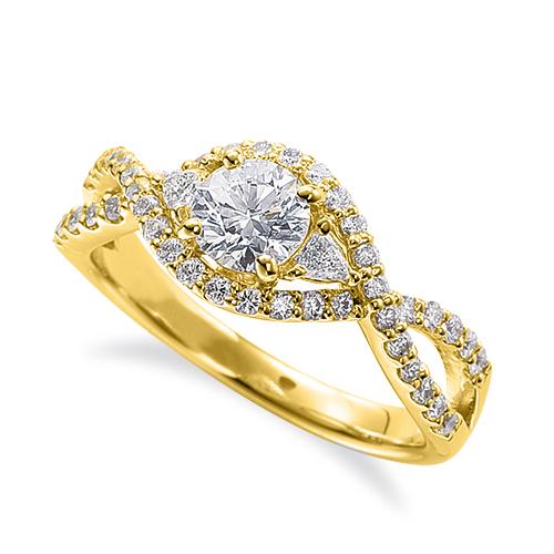 指輪 18金 イエローゴールド 天然石 サイドにファンシーシェイプ付きの取り巻きリング 主石の直径約5.2mm 割り腕 四本爪留め|K18YG 18k 貴金属 ジュエリー レディース メンズ