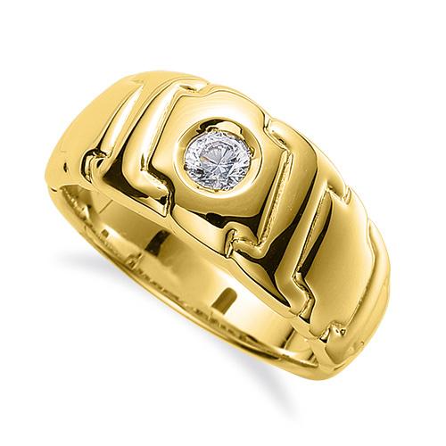 指輪 18金 イエローゴールド 天然石 一粒リング 主石の直径約3.8mm ソリティア K18YG 18k 貴金属 ジュエリー レディース メンズ