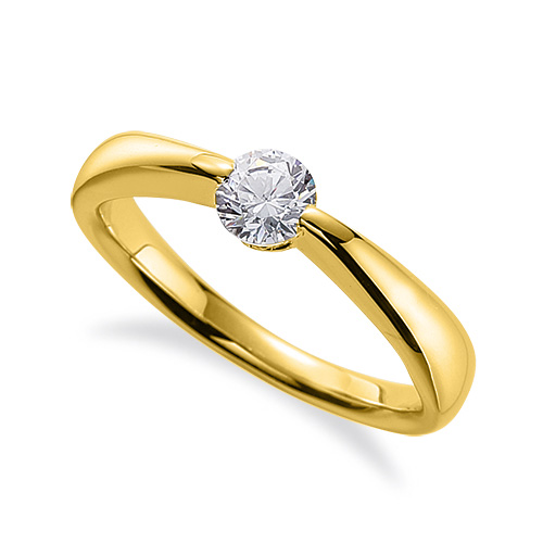 指輪 18金 イエローゴールド 天然石 一粒リング 主石の直径約3.8mm ソリティア しぼり腕 二本爪留め K18YG 18k 貴金属 ジュエリー レディース メンズ