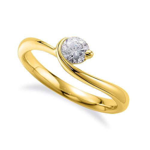 指輪 18金 イエローゴールド 天然石 一粒リング 主石の直径約3.8mm ソリティア ウェーブ レール留め|K18YG 18k 貴金属 ジュエリー レディース メンズ