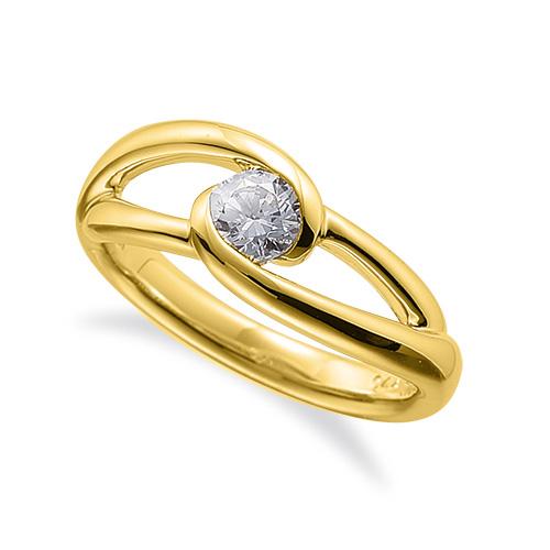 指輪 18金 イエローゴールド 天然石 一粒リング 主石の直径約4.4mm ソリティア 割り腕 レール留め|K18YG 18k 貴金属 ジュエリー レディース メンズ