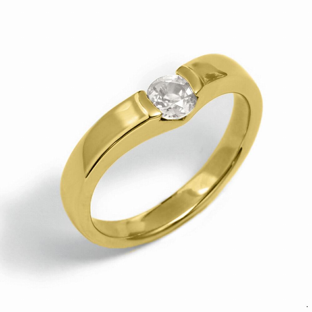指輪 18金 イエローゴールド 天然石 一粒リング 主石の直径約4.4mm ソリティア V字 平打ち レール留め|K18YG 18k 貴金属 ジュエリー レディース メンズ