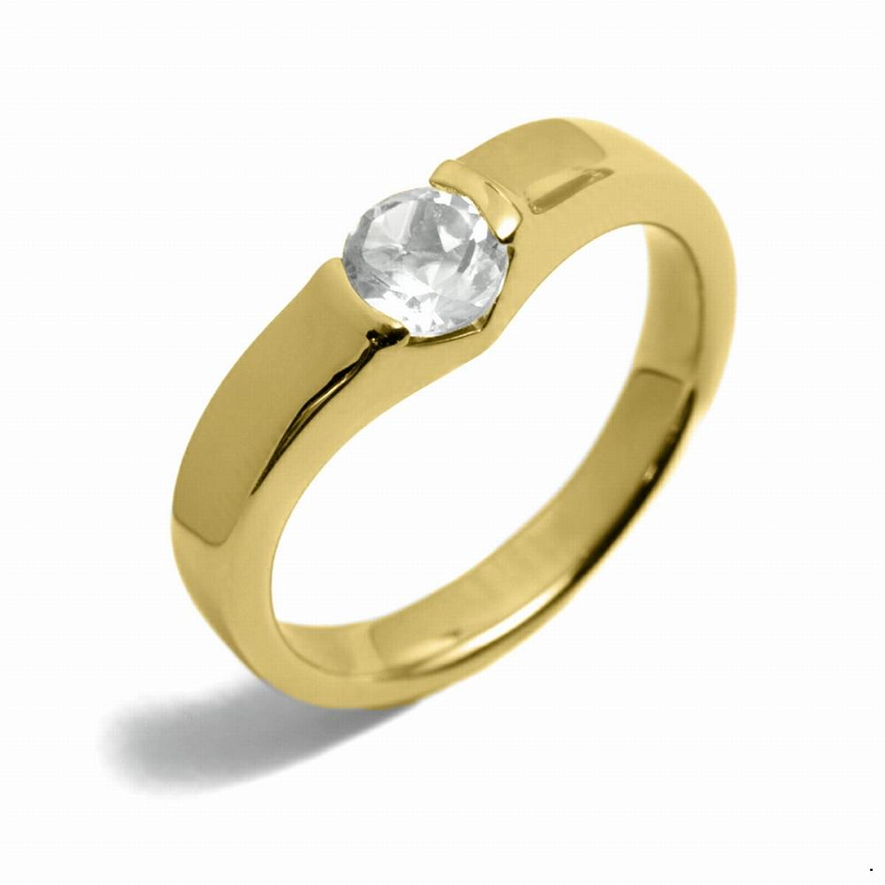 指輪 18金 イエローゴールド 天然石 一粒リング 主石の直径約5.2mm ソリティア V字 平打ち レール留め|K18YG 18k 貴金属 ジュエリー レディース メンズ
