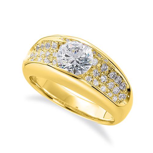 指輪 18金 イエローゴールド 天然石 サイドパヴェリング 主石の直径約3.8mm レール留め|K18YG 18k 貴金属 ジュエリー レディース メンズ