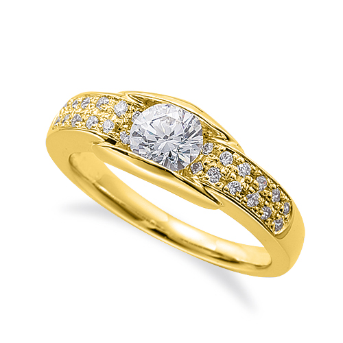 指輪 18金 イエローゴールド 天然石 サイドパヴェリング 主石の直径約4.4mm レール留め|K18YG 18k 貴金属 ジュエリー レディース メンズ