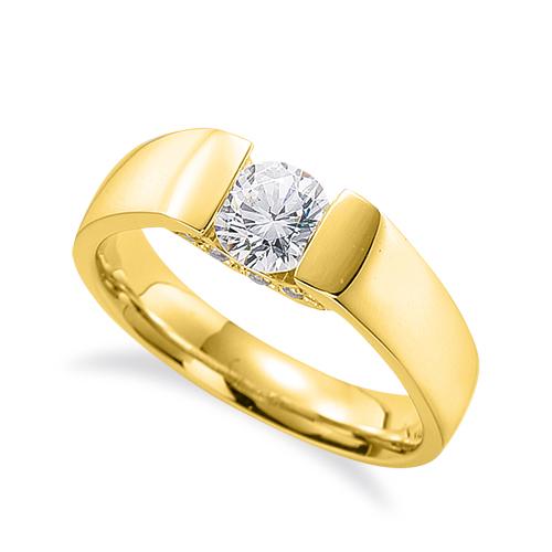 指輪 18金 イエローゴールド 天然石 側面にメレ付きの一粒リング 主石の直径約3.8mm ソリティア 平打ち レール留め K18YG 18k 貴金属 ジュエリー レディース メンズ