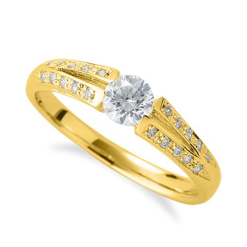指輪 18金 イエローゴールド 天然石 メレがラインになったサイドストーンリング 主石の直径約4.4mm 割り腕 K18YG 18k 貴金属 ジュエリー レディース メンズ