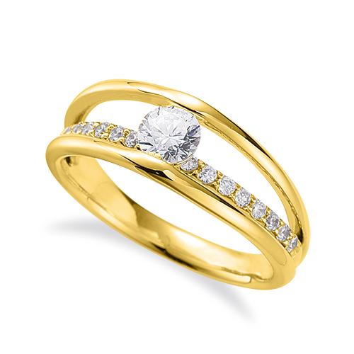 指輪 18金 イエローゴールド 天然石 メレがラインになったサイドストーンリング 主石の直径約3.8mm 割り腕 レール留め|K18YG 18k 貴金属 ジュエリー レディース メンズ