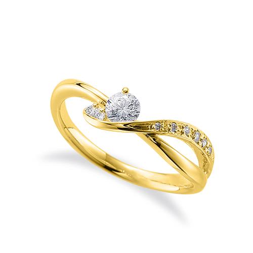 指輪 18金 イエローゴールド 天然石 サイドストーンリング 主石の直径約3.8mm ウェーブ 割り腕|K18YG 18k 貴金属 ジュエリー レディース メンズ