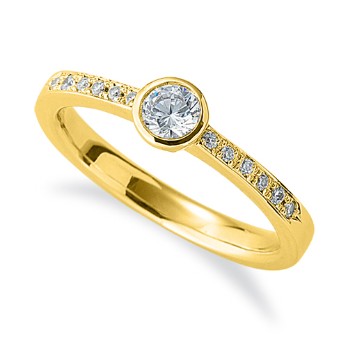 指輪 18金 イエローゴールド 天然石 サイド一文字リング 主石の直径約3.8mm|K18YG 18k 貴金属 ジュエリー レディース メンズ