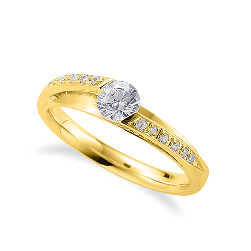 指輪 18金 イエローゴールド 天然石 メレがラインになったサイドストーンリング 主石の直径約4.4mm|K18YG 18k 貴金属 ジュエリー レディース メンズ
