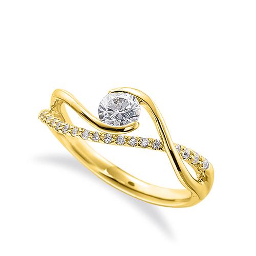 指輪 18金 イエローゴールド 天然石 メレがラインになったサイドストーンリング 主石の直径約4.4mm 抱き合わせ腕 割り腕|K18YG 18k 貴金属 ジュエリー レディース メンズ