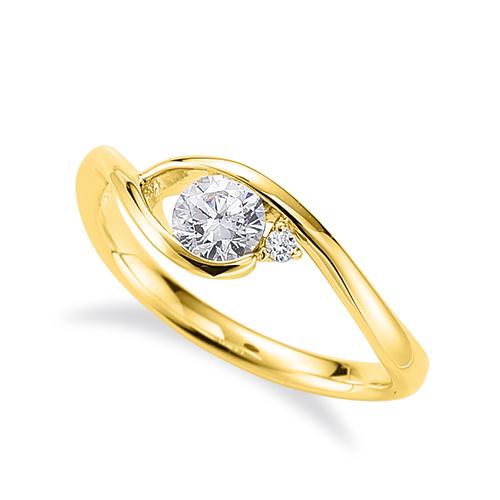 指輪 18金 イエローゴールド 天然石 サイドストーンリング 主石の直径約4.4mm ウェーブ|K18YG 18k 貴金属 ジュエリー レディース メンズ