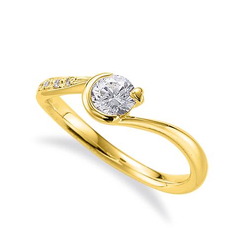 指輪 18金 イエローゴールド 天然石 メレがラインになったサイドストーンリング 主石の直径約4.4mm ウェーブ|K18YG 18k 貴金属 ジュエリー レディース メンズ