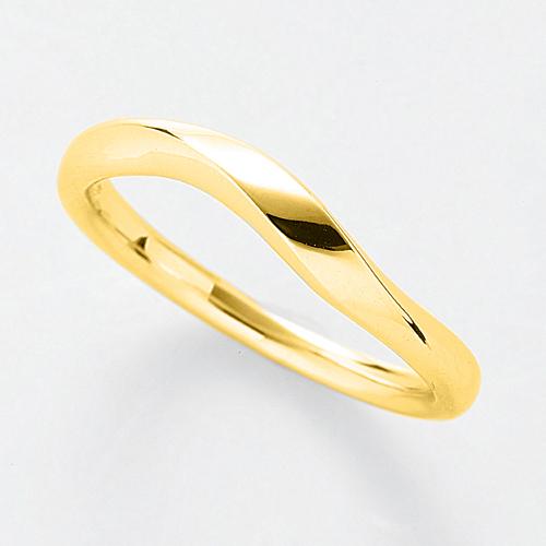 指輪 18金 イエローゴールド シンプルモダンなウェーブリング 幅2.8mm|K18YG 18k 貴金属 ジュエリー レディース メンズ