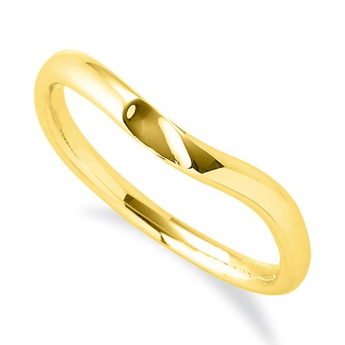 指輪 18金 イエローゴールド 窪みのあるV字リング 幅2.4mm|K18YG 18k 貴金属 ジュエリー レディース メンズ