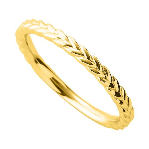 指輪 18金 イエローゴールド 編み込み模様のデザインリング 幅2.3mm|K18YG 18k 貴金属 ジュエリー レディース メンズ