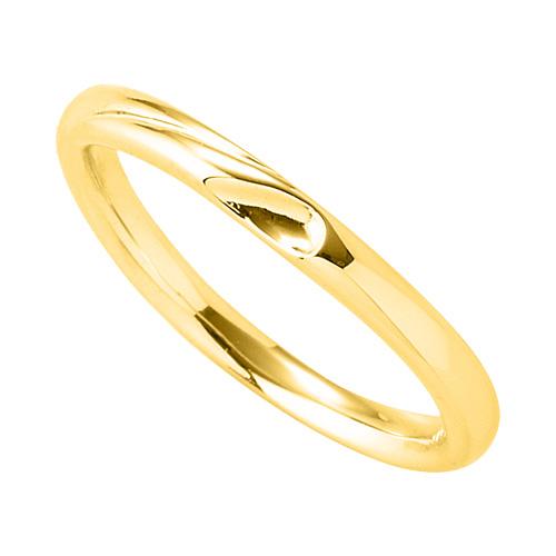 指輪 18金 イエローゴールド 窪みのあるV字リング 幅2.1mm|K18YG 18k 貴金属 ジュエリー レディース メンズ