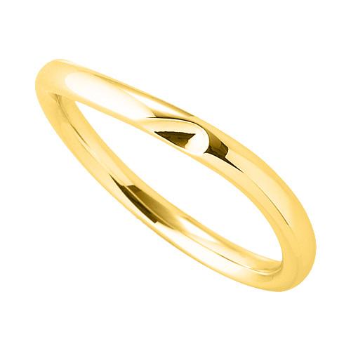 指輪 18金 イエローゴールド 窪みのあるウェーブリング 幅2.5mm|K18YG 18k 貴金属 ジュエリー レディース メンズ