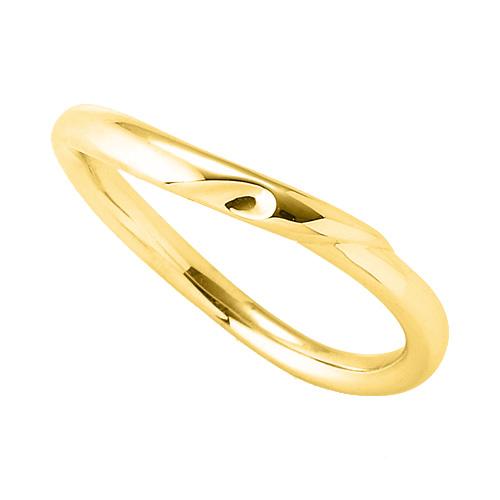 指輪 18金 イエローゴールド 窪みのあるウェーブリング 幅2.2mm K18YG 18k 貴金属 ジュエリー レディース メンズ