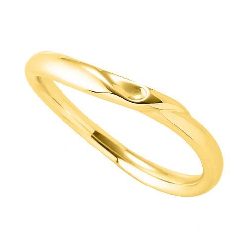 指輪 18金 イエローゴールド 窪みのあるウェーブリング 幅2.8mm|K18YG 18k 貴金属 ジュエリー レディース メンズ