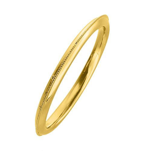 指輪 18金 イエローゴールド 上品なミル打ちラインリング 幅1.7mm K18YG 18k 貴金属 ジュエリー レディース メンズ