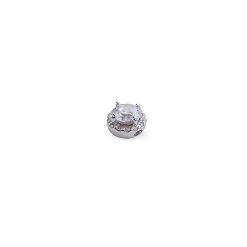 ペンダントトップ PT900 プラチナ 天然石 取り巻きスルーペンダント 主石の直径約4.4mm 四本爪留め ペンダントヘッドのみ|900pt 貴金属 ジュエリー レディース メンズ
