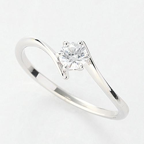 指輪 PT900 プラチナ 天然石 一粒リング 主石の直径約3.8mm ソリティア ウェーブ 六本爪留め|900pt 貴金属 ジュエリー レディース メンズ