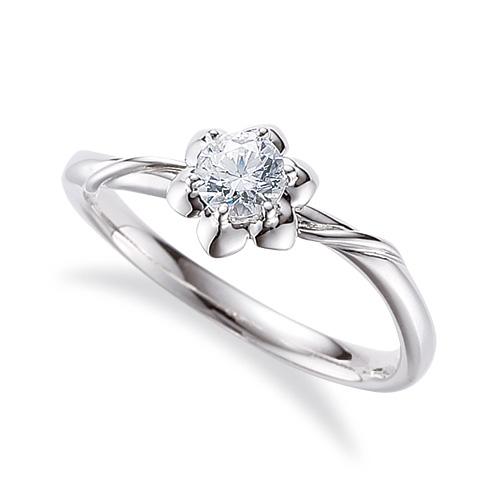 指輪 PT900 プラチナ 天然石 花モチーフの一粒リング 主石の直径約3.8mm ソリティア 六本爪留め|900pt 貴金属 ジュエリー レディース メンズ