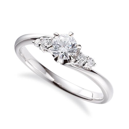 指輪 PT900 プラチナ 天然石 サイドストーンリング 主石の直径約4.4mm ウェーブ 六本爪留め|900pt 貴金属 ジュエリー レディース メンズ