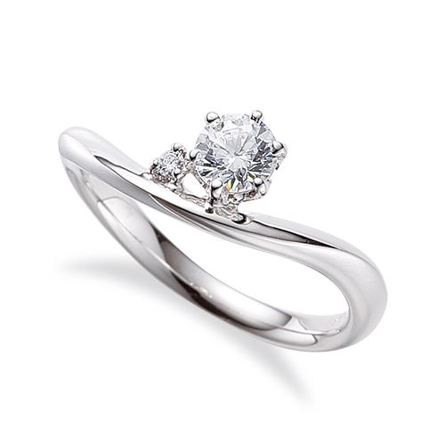 指輪 PT900 プラチナ 天然石 サイドストーンリング 主石の直径約5.2mm ウェーブ 六本爪留め|900pt 貴金属 ジュエリー レディース メンズ