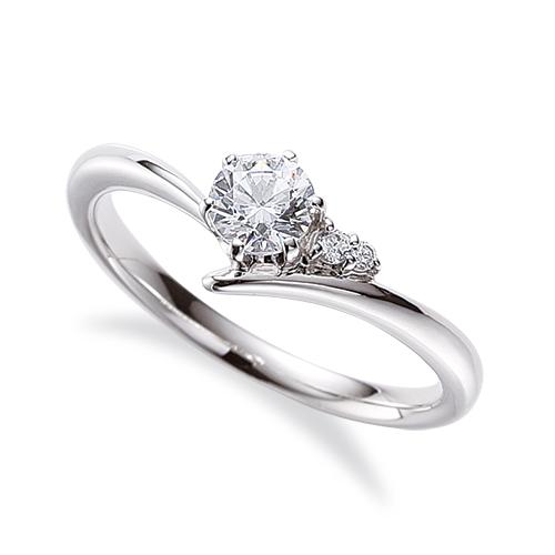 指輪 PT900 プラチナ 天然石 サイドストーンリング 主石の直径約4.4mm V字 六本爪留め|900pt 貴金属 ジュエリー レディース メンズ