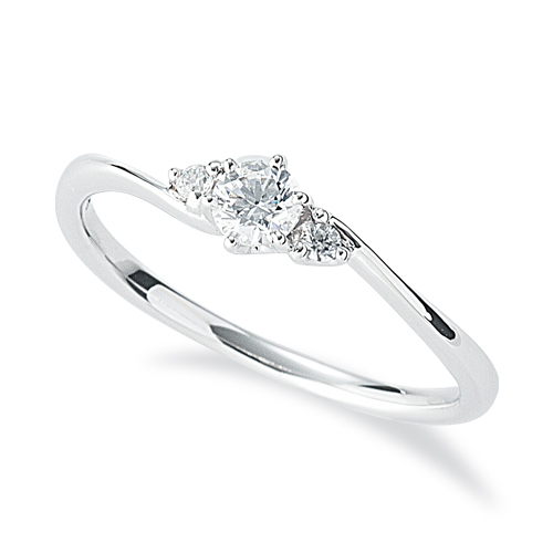 指輪 PT900 プラチナ 天然石 サイドストーンリング 主石の直径約3.4mm ウェーブ 六本爪留め|900pt 貴金属 ジュエリー レディース メンズ