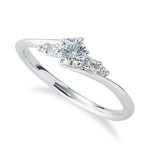指輪 PT900 プラチナ 天然石 サイドストーンリング 主石の直径約3.8mm ウェーブ 六本爪留め|900pt 貴金属 ジュエリー レディース メンズ