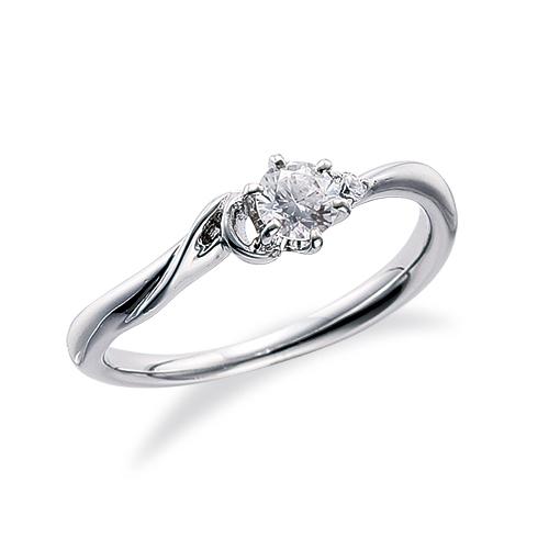 指輪 PT900 プラチナ 天然石 A イニシャルモチーフのサイドストーンリング 主石の直径約3.8mm ウェーブ 六本爪留め|900pt 貴金属 ジュエリー レディース メンズ