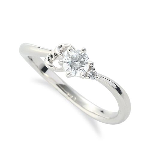 指輪 PT900 プラチナ 天然石 E イニシャルモチーフのサイドストーンリング 主石の直径約3.8mm ウェーブ 六本爪留め|900pt 貴金属 ジュエリー レディース メンズ