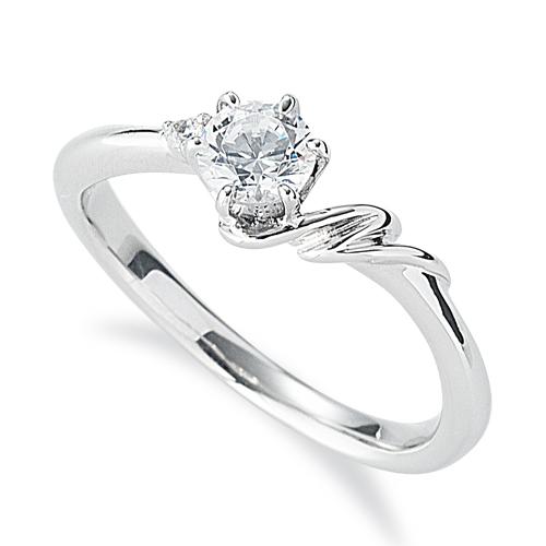 指輪 PT900 プラチナ 天然石 N イニシャルモチーフのサイドストーンリング 主石の直径約4.4mm ウェーブ 六本爪留め|900pt 貴金属 ジュエリー レディース メンズ