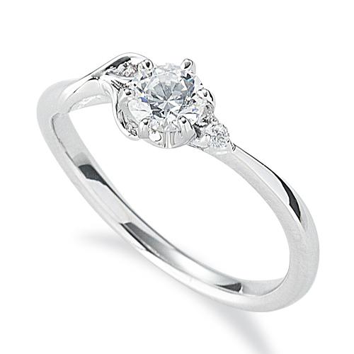 指輪 PT900 プラチナ 天然石 R イニシャルモチーフのサイドストーンリング 主石の直径約4.4mm ウェーブ 六本爪留め|900pt 貴金属 ジュエリー レディース メンズ