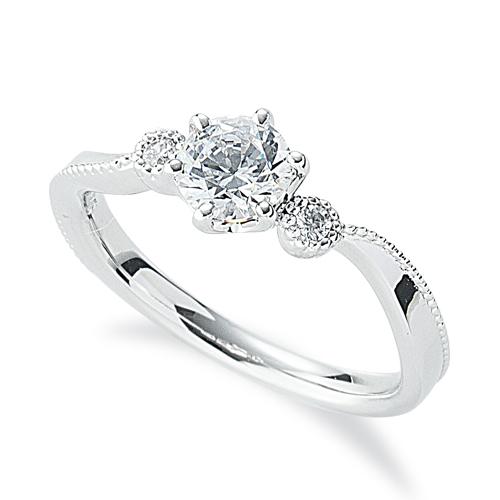 指輪 PT900 プラチナ 天然石 ミル打ちラインのサイドストーンリング 主石の直径約5.2mm ウェーブ 六本爪留め|900pt 貴金属 ジュエリー レディース メンズ