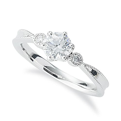 指輪 PT900 プラチナ 天然石 ミル打ちラインのサイドストーンリング 主石の直径約5.2mm 六本爪留め|900pt 貴金属 ジュエリー レディース メンズ