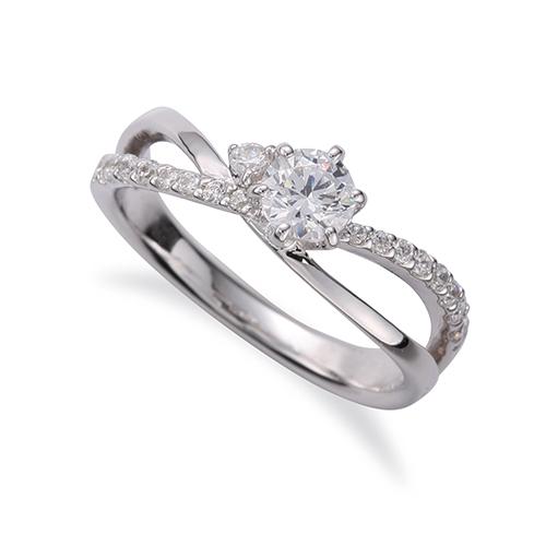 指輪 PT900 プラチナ 天然石 サイドストーンリング 主石の直径約4.4mm ウェーブ 割り腕 六本爪留め 900pt 貴金属 ジュエリー レディース メンズ