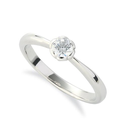 指輪 PT900 プラチナ 天然石 花モチーフの一粒リング 主石の直径約3.8mm ソリティア しぼり腕 レール留め|900pt 貴金属 ジュエリー レディース メンズ