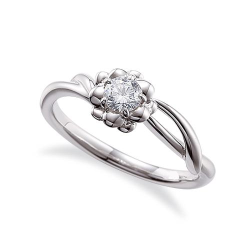 指輪 PT900 プラチナ 天然石 花モチーフの一粒リング 主石の直径約3.8mm ソリティア 割り腕 5本爪留め|900pt 貴金属 ジュエリー レディース メンズ