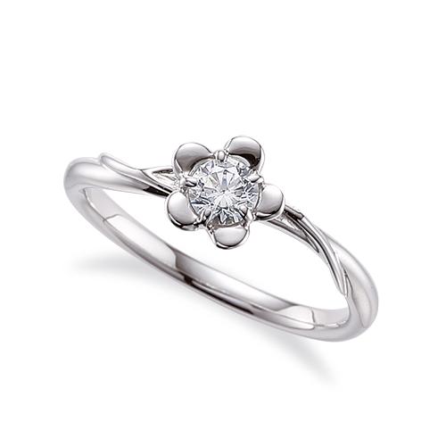 指輪 PT900 プラチナ 天然石 花モチーフの一粒リング 主石の直径約3.8mm ソリティア ウェーブ 五本爪留め 900pt 貴金属 ジュエリー レディース メンズ